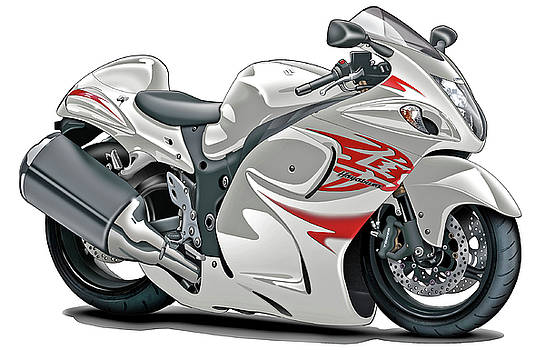 Suzuki Hayabusa White-Red Bike by Maddmax