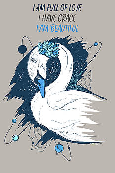 Swan Among The Stars - Affirmation Series - Blue and Grey by Kenal Louis