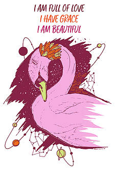 Swan Among The Stars - Affirmation Series - Pink and Orange by Kenal Louis