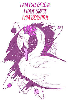 Swan Among The Stars - Affirmation Series - Pink and White by Kenal Louis
