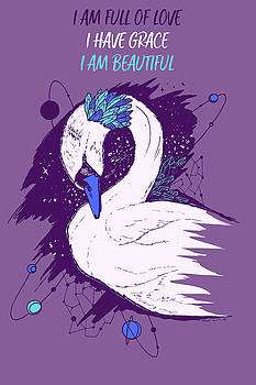 Swan Among The Stars - Affirmation Series - Purple and Blue by Kenal Louis