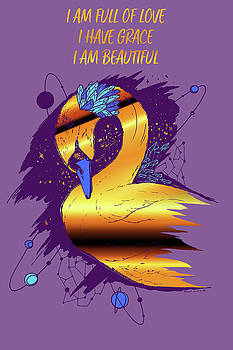 Swan Among The Stars - Affirmation Series - Purple and Gold by Kenal Louis