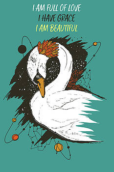 Swan Among The Stars - Affirmation Series - Turquoise and Orange by Kenal Louis