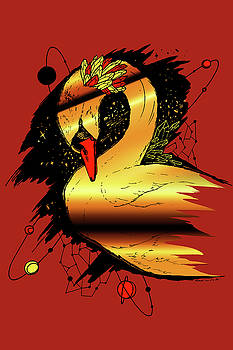 Swan Among The Stars Red Gold by Kenal Louis