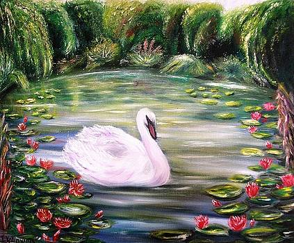 Swan And Waterlilies by Irina Kalinkina