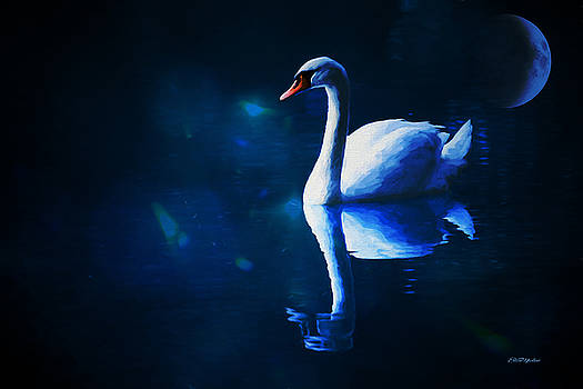 Swan Beneath the Blue Moon - Painting by Ericamaxine Price