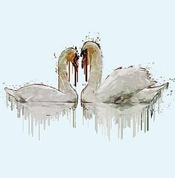 Swan Love acrylic painting by Georgeta Blanaru