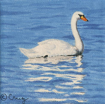 Swan on Klamath Lake by Linda Cruz