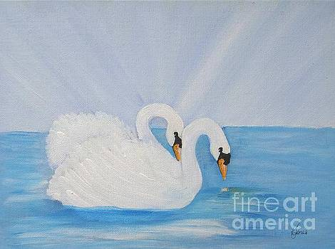 Swans on Open Water by Karen Jane Jones