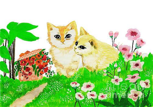 Sweet couple cats by Rasirote Buakeeree