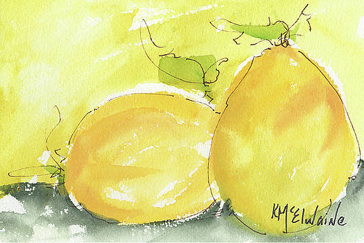 Sweet Lemon watercolor painting by KMcElwaine by Kathleen McElwaine