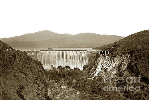 California Views Mr Pat Hathaway Archives - Sweetwater Dam showing Overflowing water, San Diego Circa 1900