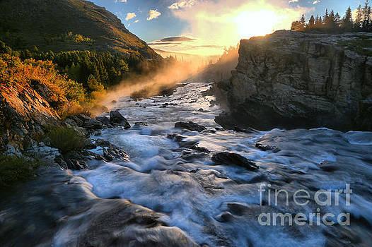 Adam Jewell - Swiftcurrent Falls Fiery Sunrise