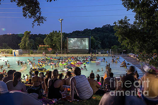 Herronstock Prints - Swimmers fill the pool for Deep Eddy Pool Splash Movie Night, a favorite summer tradition in Austin, Texas