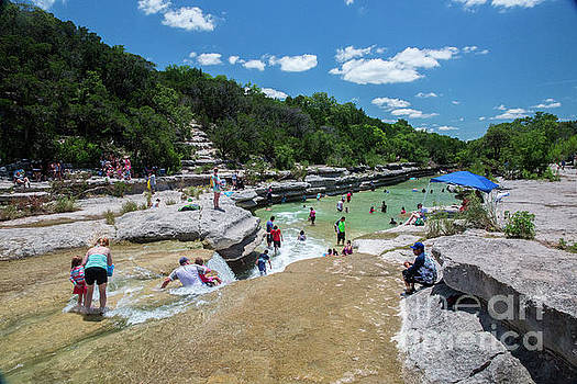 Herronstock Prints - Swimmers flock to Bull Creek a favorite Austin swimming hole most tranquil water falls