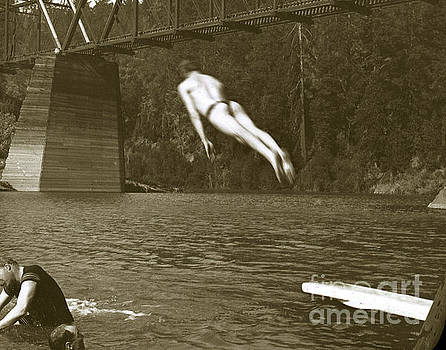 California Views Mr Pat Hathaway Archives - Swimming and diving in Russian River with Railroad Bridge across
