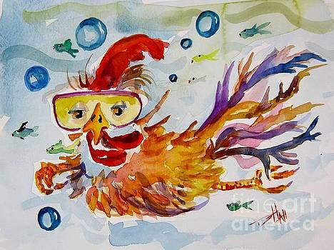 Swimming Chicken by Delilah  Smith