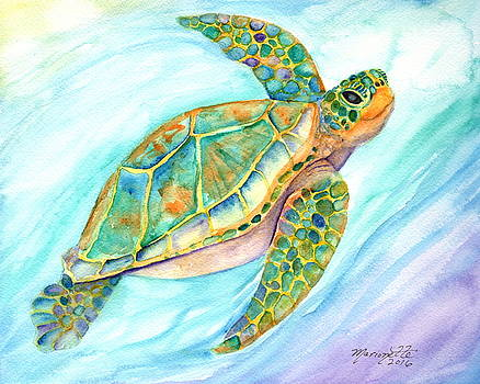 Swimming, Smiling Sea Turtle by Marionette Taboniar