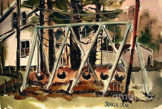 Swings Under the Pines Before the Storm plein air by Charlie Spear