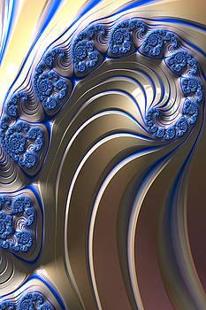 Swirly Blue Fractal Art by Bonnie Bruno