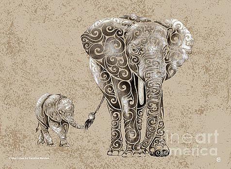 Swirly Elephants by Carolina Matthes