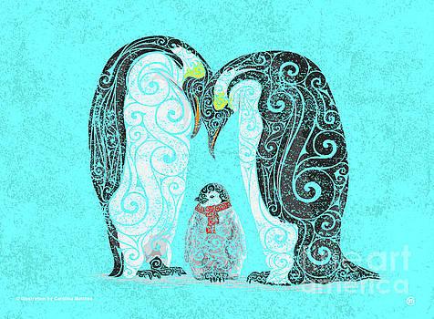 Swirly Penguin Family by Carolina Matthes
