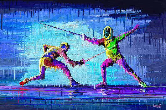 Sword Sparring Painting by Anthony Mwangi