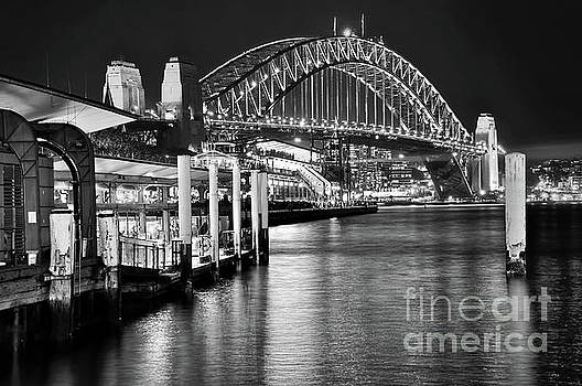 Sydney Harbour Bridge Black and White by Kaye Menner by Kaye Menner