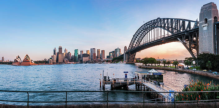 Sydney Harbour view at sunset from North Sydney by Daniela Constantinescu