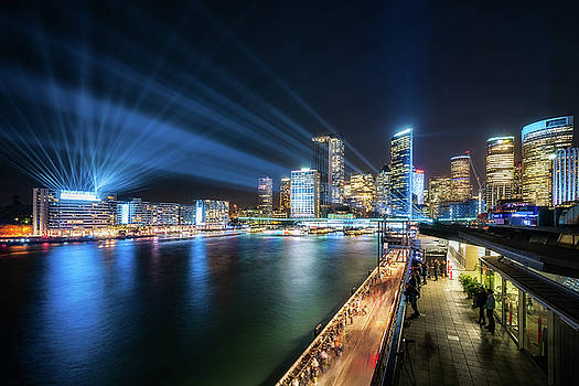 Sydney Skyline dressed in deep blue tones by Daniela Constantinescu