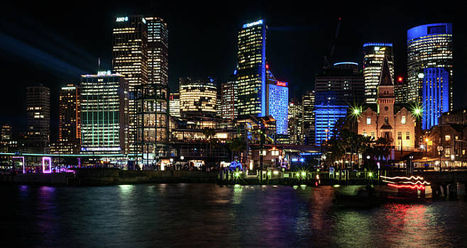 Sydney Skyline from Cambell Cove during Vivid Light Festival by Daniela Constantinescu