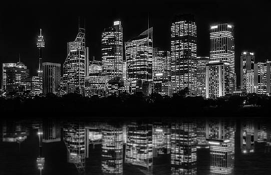 Sydney Waterfront at Night by Daniela Constantinescu