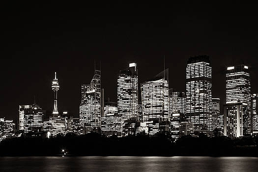 Sydney Waterfront Skyline in black and white by Daniela Constantinescu