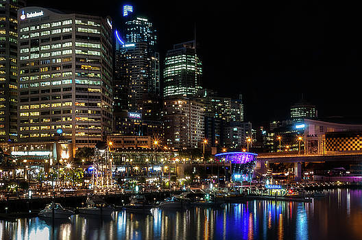 Sydney's Darling Harbour by Night by Daniela Constantinescu