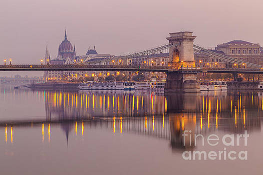 Szechenyi Chain Bridge and Hungarian Parliament by Travel and Destinations - By Mike Clegg