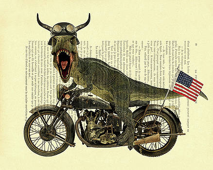 T Rex Riding His Harley, Dictionary Print by Madame Memento