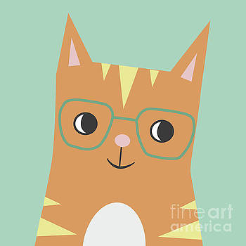 Tabby Cat with Glasses by NamiBear