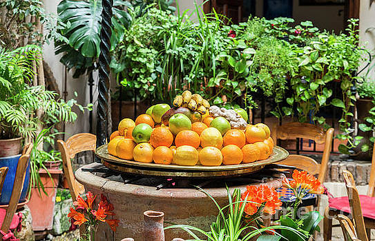 Table With Bowl Of Fresh Fruit by Compuinfoto