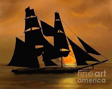 Tall Ship with a Harvest Moon by Judy Filarecki