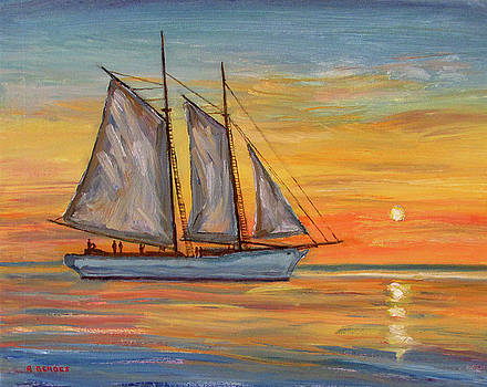 Tallship Schooner at Sunset by Robert Gerdes