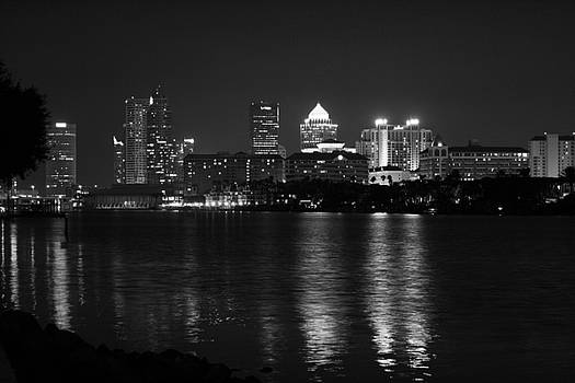 Tampa Skyline South Black and White by Larry Underwood