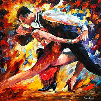 Tango Of Passion - PALETTE KNIFE Oil Painting On Canvas By Leonid Afremov by Leonid Afremov