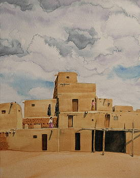Taos Pueblo 1990 by Michele Myers