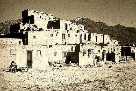 Art America Gallery Peter Potter - Taos Pueblo New Mexico - Ink