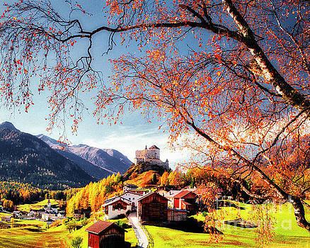 Tarasp Village and Castle by Edmund Nagele