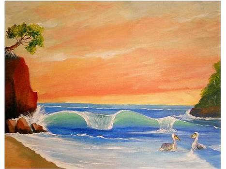 Tarde de pelicanos by Jean Pierre Bergoeing