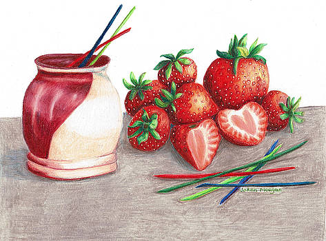 Tawas Pottery and Strawberries2 by JoAnn Morgan Smith