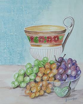 Tea Cup and Grapes by Janna Columbus