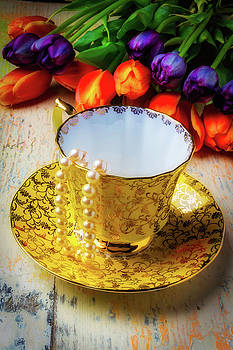 Tea Cup And Tulips by Garry Gay