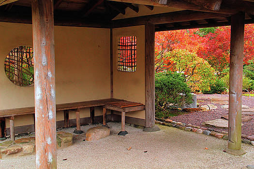 Tea House and Fall Foliage In A Japanese Garden by Greg Matchick